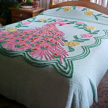 Pretty vintage peacock chenille bedspread with mint green background- pink feathers- 100X90 inches