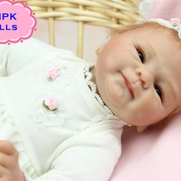 2017 New 18 Inch Dolls NPK Real Looking Silicone Reborn Baby Dolls Fashion Cute Baby Doll Reborn For Girls' Gifts Brinquedos