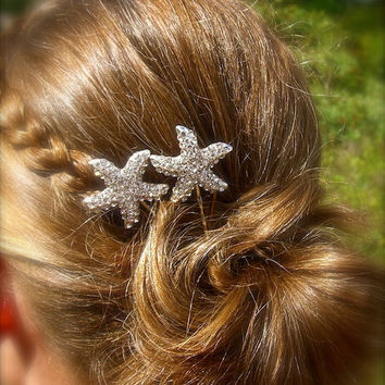 Beach Wedding Starfish Bobby Pins-SET OF 2-Bridal Hair Pins, Beach Bride, Mermaids, Starfish Hair, Vegan Friendly, Destination Wedding