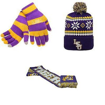 Licensed NCAA LSU Tigers Glove Stripe Knit Spirit Scarf And Fogbow Beanie Hat 3Pk 55459 KO_19_1