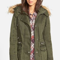 Women's GUESS Hooded Cotton Field Jacket with Faux Fur Trim,