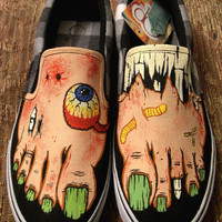 Handpainted Fleshtone Zombie Shoes by WalkingDeadApparel on Etsy