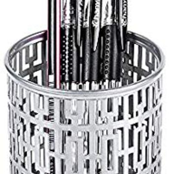 Crystallove Metal Pencil Cup Pen Holder of Desk Organizer Office Supplies (Silver)