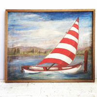 Sale Mid Century Painting - Vintage Sailboat Painting