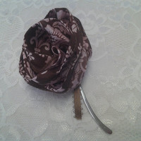 Brown and Pink Ribbon Flower Small Silver Bookmark