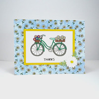 Thank You Card, Thanks card, Bicycle card, bicycle thank you note, bike card, flower card, Handmade greeting card, Red White Blue