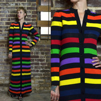 Vintage 1970's Modern Avant Garde Rainbow Bodycon Bohemian Knit Maxi Dress