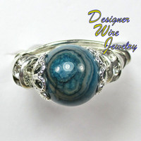 DWJ0158 Gorgeous Blue Larimar Crazy Lace Wire Wrap Ring  All Sizes