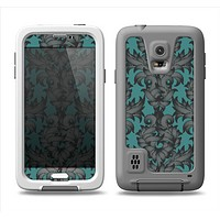 The Teal Leaf Foliage Pattern Samsung Galaxy S5 LifeProof Fre Case Skin Set