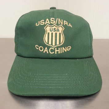 Vintage 90's USAS/NRA Coaching Gun Rights 2nd Amendmant Snapback Dad Hat Shooting Hunting Cap Made In USA