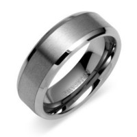 Beveled Edge Center Brushed Finish 8mm Comfort Fit Mens Tungsten Carbide Wedding Band Ring Sizes 8 to 13
