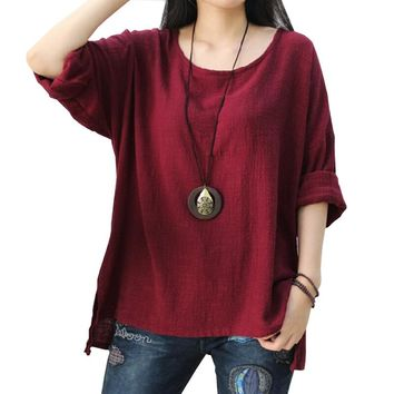 Plus size casual cotton linen t-shirt woman 2018 spring long sleeve tops female solid color tshirt female large size t shirt