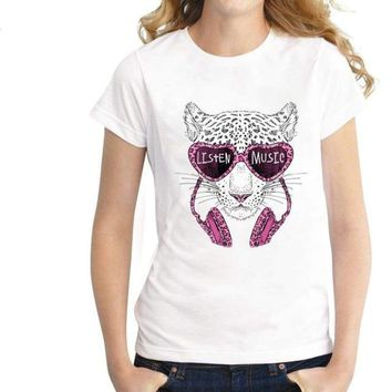 Funny Leopard Graphic Printed T shirt Tee Tops