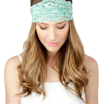 MINT LACE HEADBAND, urban turban, headwrap, gym, mint lace, mint headwrap, light blue green headband