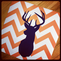 "Deer Silhouette with Chevron Zig Zag Stripes - One print -  12""x12"""