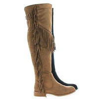 Oksana65 By Wild Diva, Round Toe Over Knee Fringe Riding Boots