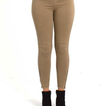 Women's Khaki Moto Leggings