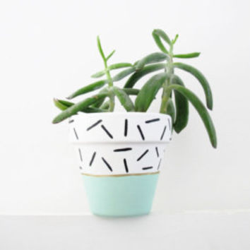 Hand Painted Mint Dash Plant Pot - 15cm