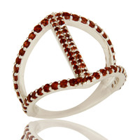 925 Sterling Silver Pave-Set Garnet Gemstone Split Shank Ring