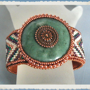 Serpentine Jade Bead Embroidery and Loomed Cuff Bracelet