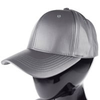 Faux Leather Baseball Cap in Grey