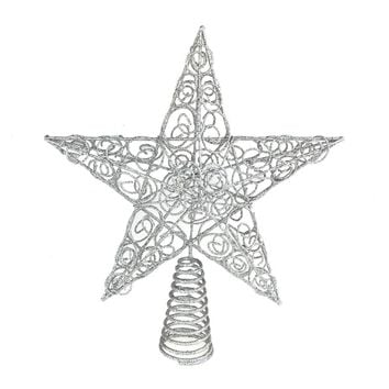 Christmas Wired Star Tree Top, Silver, 10-Inch