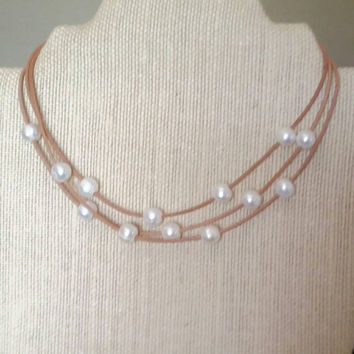 Pearl and leather necklace, multi strand leather necklace, multi strand pearl and leather necklace, Leather and pearl necklace, gift for her