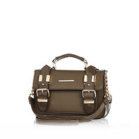 River Island Womens Khaki patent mini satchel bag