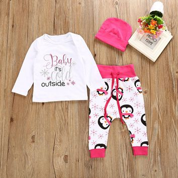 """Baby Girls """"Baby It's Cold Outside"""" Long Sleeve Shirt with Penguin print pants and Hat"""