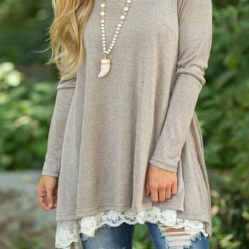 Luxe Feeling Beige Lace Top