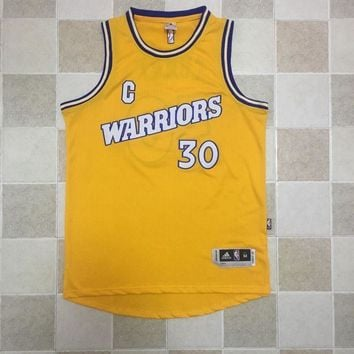 KUYOU Golden State Warriors Stephen Curry Retro Yellow 100% Authentic Jersey