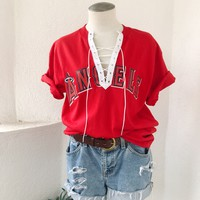 ANGELS LACEUP TEE- RED