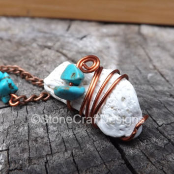 Necklace turquoise pendant chain bib statement piece beach shell charm jewelry women fashion copper necklace stone accent beads handmade 1
