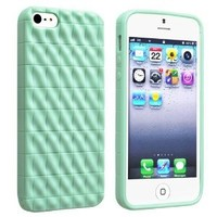 iPhone SE Case, Insten TPU Rubber Skin Case compatible with Apple iPhone 5SE / 5S 5, Mint Green 3D Wave