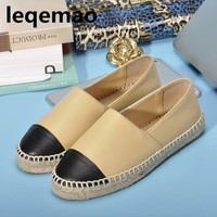New Trend Minimalist Women Genuine Leather Espadrilles Luxury Fashion Flats Woman Casual Loafers Brand high quality Shoes 34-42