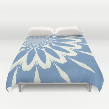 Subtle Blue Flower Duvet Cover by 2sweet4words Designs