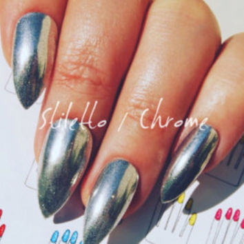 Stiletto, 20pcs, Pastel Blueberry + Yellow French Hand Painted Nail Tips / Press On / Stick On / Fake Nails - Matte