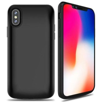 DCCKNY1 ALCLAP iPhone X Battery Case, 6000mAh Rechargeable Charger Case Portable Charging Case for iPhone X /10 (5.8 inch) Extended Case Battery/Lightning Cable Input Mode with Sync Through Technology