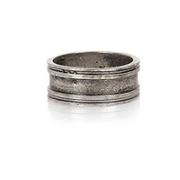 River Island MensGunmetal tone engraved simple ring