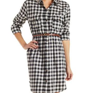 White/Black Checkered Print Shirt Dress by Charlotte Russe