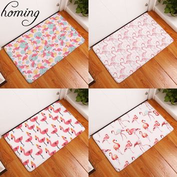 Homing New Arrive in Front of Entrance Door Mats Dense Pink Flamingo Printing Carpets Anti Slip Water Proof Kitchen Bedroom Rugs