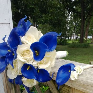 Royal Blue Ivory Rose Wedding Bouquet with Boutonniere, Royal Blue Bouquet
