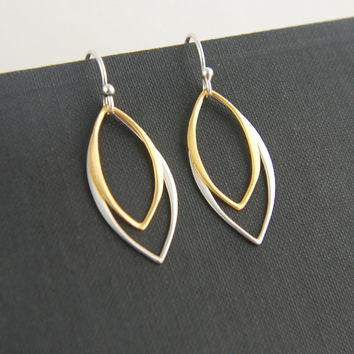 Marquis shaped earrings in sterling silver and gold, leaf shaped earrings, silver and gold, everyday jewelry, mixed metals