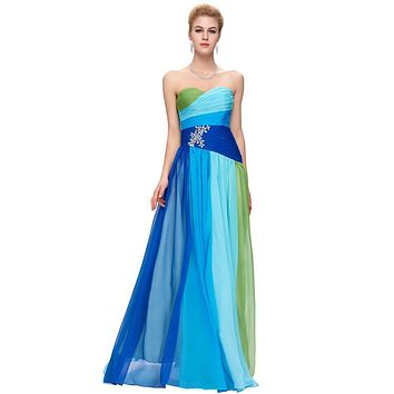 Royal Blue Ombre Dress Elegant Long Prom Dresses 2017 Rhinestones Beading Robe de Soiree Women Evening Gown Party Prom Dress