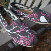 Branching out in pink-hand painted on TOMS shoes-made to order