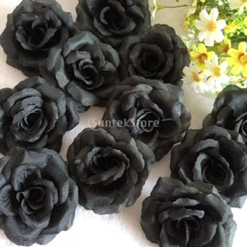 20 Pcs Black Rose Heads Artificial Silk Flower Party Wedding Home Office Garden Shop Decor DIY Free Shipping