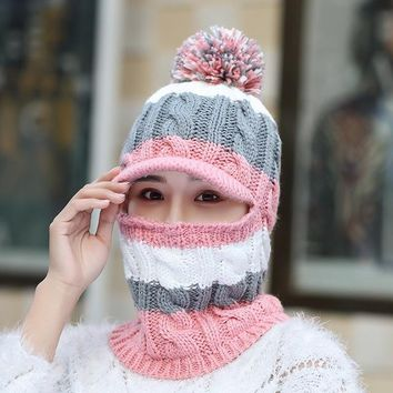 New Korean Autumn and winter new plus velvet thickening piece ladies wool hat warm knitted outdoor cap