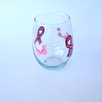Breast Cancer Awareness stemless hand painted wine glass tumbler