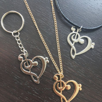 Bass Clef / Treble Clef Heart Necklace