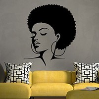African Woman Wall Decal Tribal African Girl Vinyl Sticker Decals Home Bedroom Interior Hairdressing Hair Beauty Salon Decor NS1038